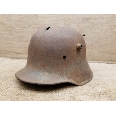 M18  SD helmet shell WWI/WWII bullet wound throw